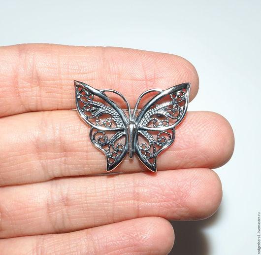 """Для украшений ручной работы. Ярмарка Мастеров - ручная работа. Купить Основа для броши """"Бабочка"""" - серебрение 925 пробы. Handmade."""