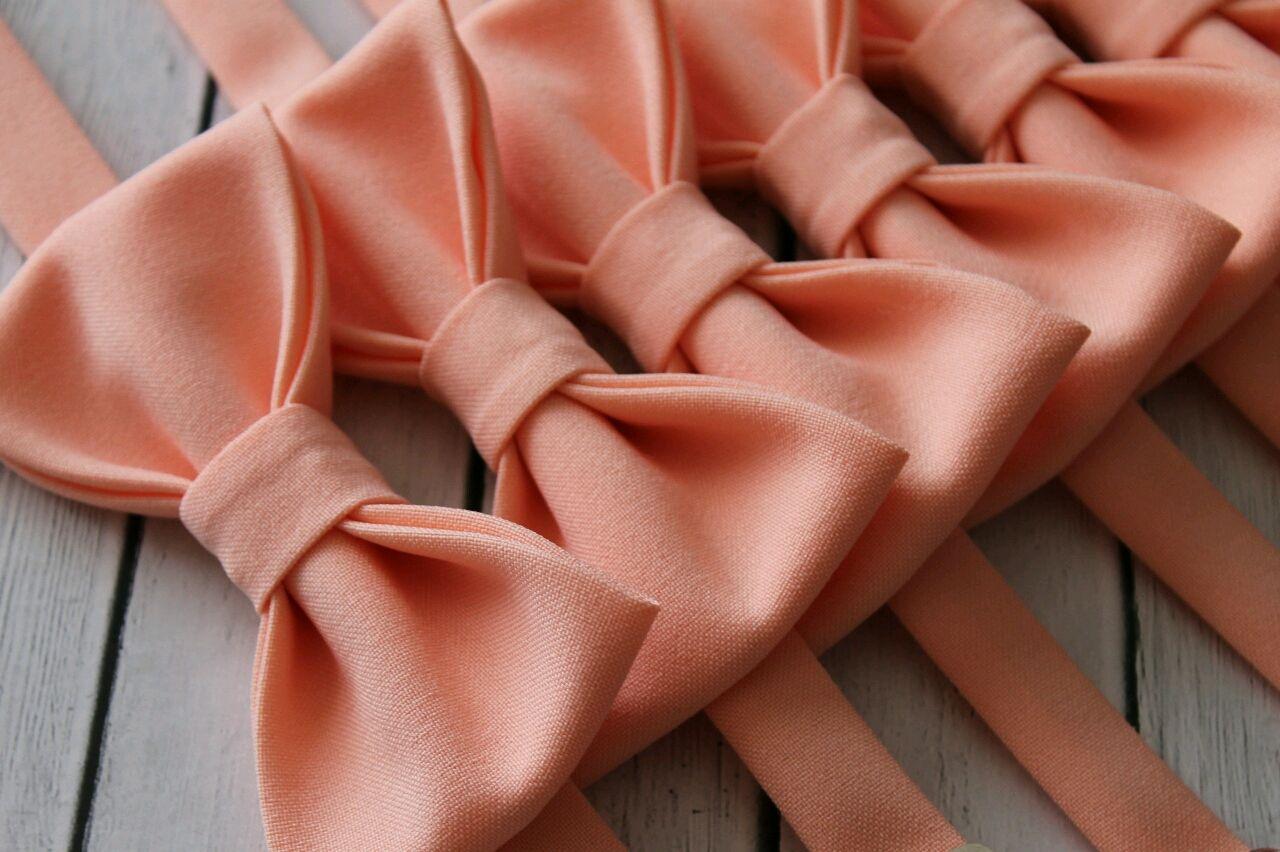 Одежда и аксессуары ручной работы. Ярмарка Мастеров - ручная работа. Купить Галстуки-бабочки в персиковом цвете. Handmade. Для друзей