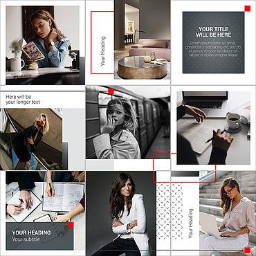 Дизайн и реклама ручной работы. Ярмарка Мастеров - ручная работа Бесшовный дизайн шаблонов для постов и сториз аккаунта Инстаграм. Handmade.