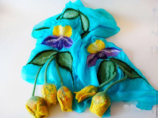 Шарфы и шарфики ручной работы. Ярмарка Мастеров - ручная работа. Купить Шарфик с цветами. Handmade. Бирюзовый, подарок девушке, handmade