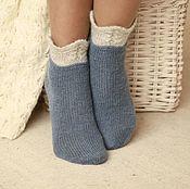 """Аксессуары handmade. Livemaster - original item Тонкие шерстяные синие носки """"С манжетой"""". Handmade."""