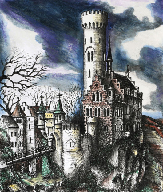 Пейзаж ручной работы. Ярмарка Мастеров - ручная работа. Купить Картина Замок Лихтенштайн. Handmade. Чёрно-белый, готика, средневековье