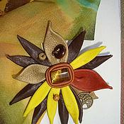 """Украшения ручной работы. Ярмарка Мастеров - ручная работа Брошь- цветок """"Погожий денёк"""" из натуральной кожи. Handmade."""