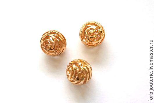 046 Бусина `Волна` из латуни с позолотой. Высококачественное покрытие gold filled. Для украшений ручной работы. Южная Корея.