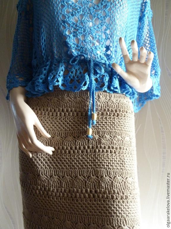 Вязанная расклешенная юбка с