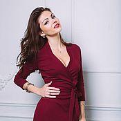 Одежда ручной работы. Ярмарка Мастеров - ручная работа Платье на запах бордового цвета. Handmade.