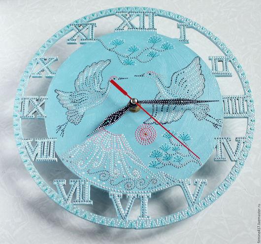 """Часы для дома ручной работы. Ярмарка Мастеров - ручная работа. Купить Настенные часы """"Фудзияма"""". Handmade. Голубой, часы настенные"""