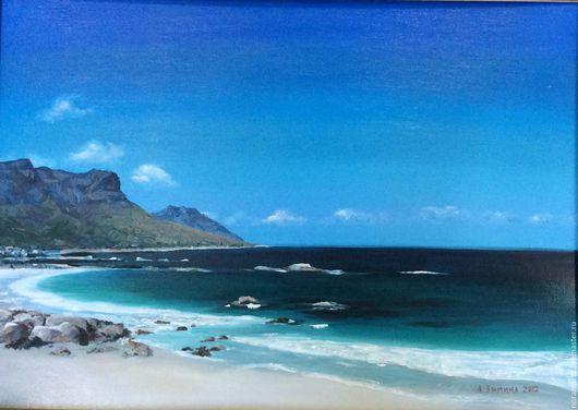 Картина Море Чайки Картина маслом Картина на холсте Голубой Синий Море Чайки Солнце Блики на воде Вода