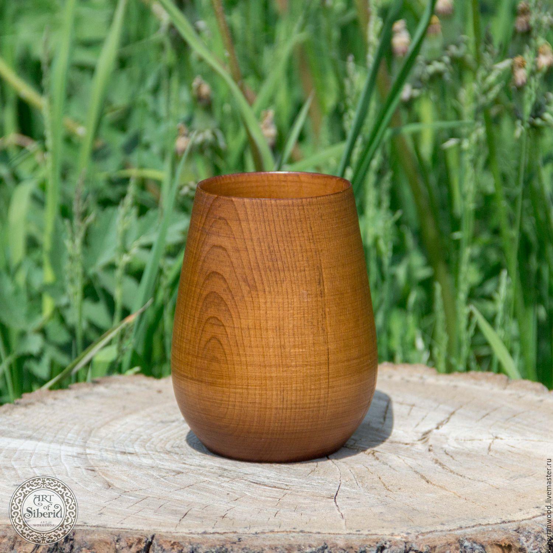Wooden glass 125mm for tea Natural Siberian Cedar C2, Mugs and cups, Novokuznetsk,  Фото №1