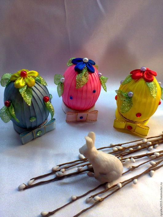 Подарки на Пасху ручной работы. Ярмарка Мастеров - ручная работа. Купить Пасхальные яйца из атласных лент.. Handmade. Комбинированный