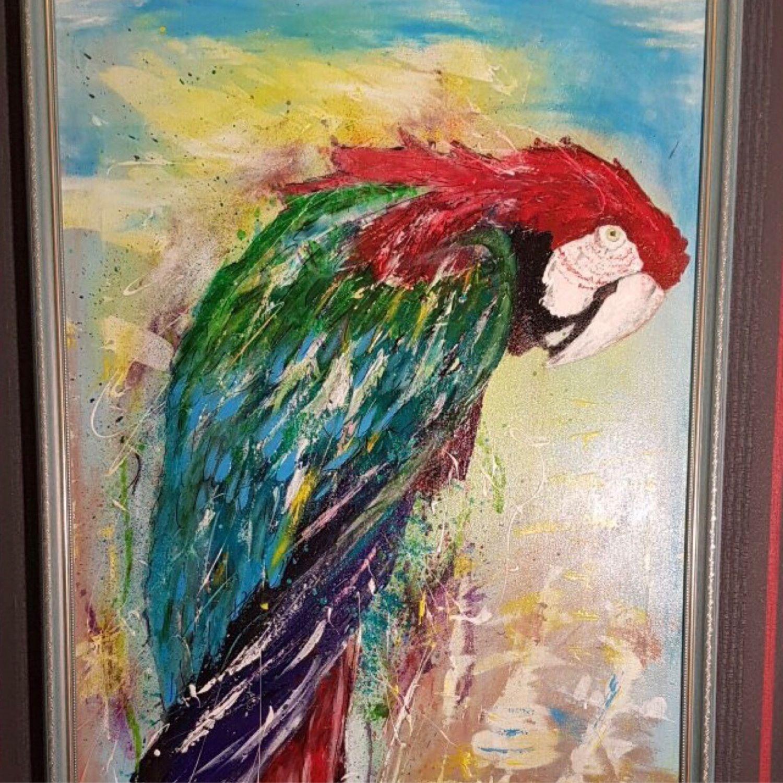 Картина в раме «Мудрый попугай» холст акрил 60/80 см