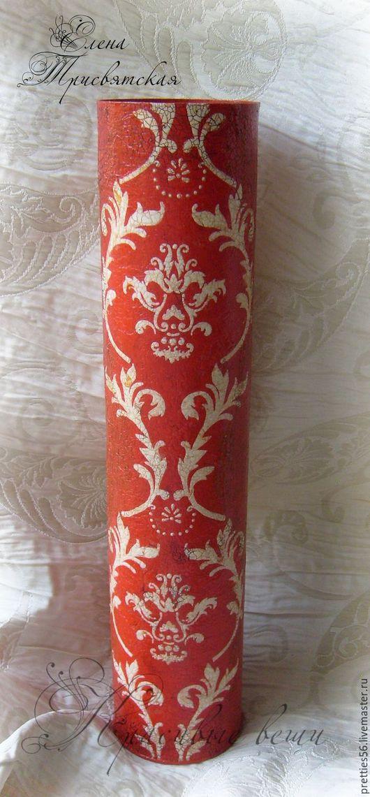 """Вазы ручной работы. Ярмарка Мастеров - ручная работа. Купить Ваза декоративная для сухоцветов """"Красная классика"""". Декупаж, винтаж. Handmade."""