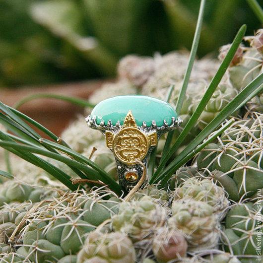 """Кольца ручной работы. Ярмарка Мастеров - ручная работа. Купить Кольцо """"Тонатиу"""". Handmade. Кольцо, серебряные украшения, майя, хризопраз"""
