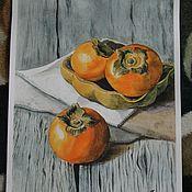 Картины и панно ручной работы. Ярмарка Мастеров - ручная работа Сочная хурма. Handmade.