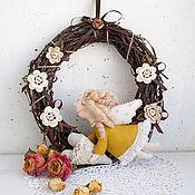 Для дома и интерьера ручной работы. Ярмарка Мастеров - ручная работа Интерьерный венок с ангелом. Handmade.