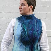 Одежда handmade. Livemaster - original item Blue Eco boho style fashion felted vest from natural silk and wool. Fe. Handmade.