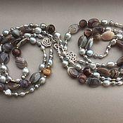 Украшения handmade. Livemaster - original item Necklace with pendant KALAHARI of Botswana agate and Baroque pearls. Handmade.