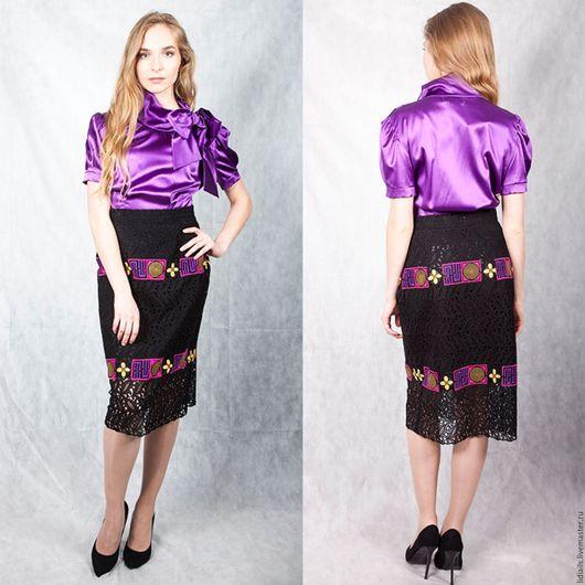 Блузки ручной работы. Ярмарка Мастеров - ручная работа. Купить Блузка из атласного шелка. Handmade. Тёмно-фиолетовый, блузка женская