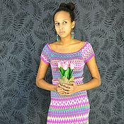 Одежда ручной работы. Ярмарка Мастеров - ручная работа Платье с коротким рукавом из бамбуковой пряжи. Handmade.
