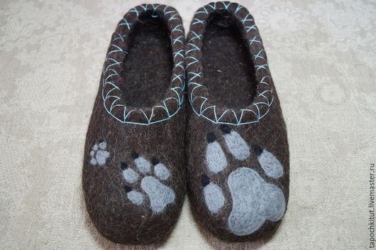 """Обувь ручной работы. Ярмарка Мастеров - ручная работа. Купить Валяные тапочки """"Волчья тропа"""". Handmade. Темно-серый"""