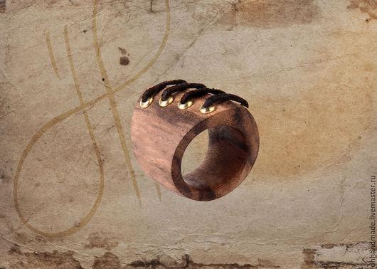 """Кольца ручной работы. Ярмарка Мастеров - ручная работа. Купить Кольцо """"Шнурочки"""". Handmade. Коричневый, деревянное кольцо"""