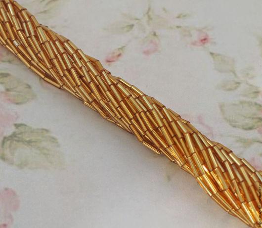 Для украшений ручной работы. Ярмарка Мастеров - ручная работа. Купить Винтажный стеклярус Чехия, цвет золотистый, цена за 50 см. нити. Handmade.