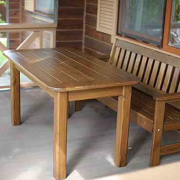 Мебель ручной работы. Ярмарка Мастеров - ручная работа Столы: Уличный стол со скамьёй. Handmade.