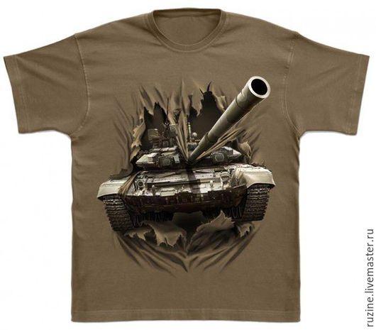 Для мужчин, ручной работы. Ярмарка Мастеров - ручная работа. Купить Футболка с 3D рисунком прорывающегося танка Т-90. Handmade.
