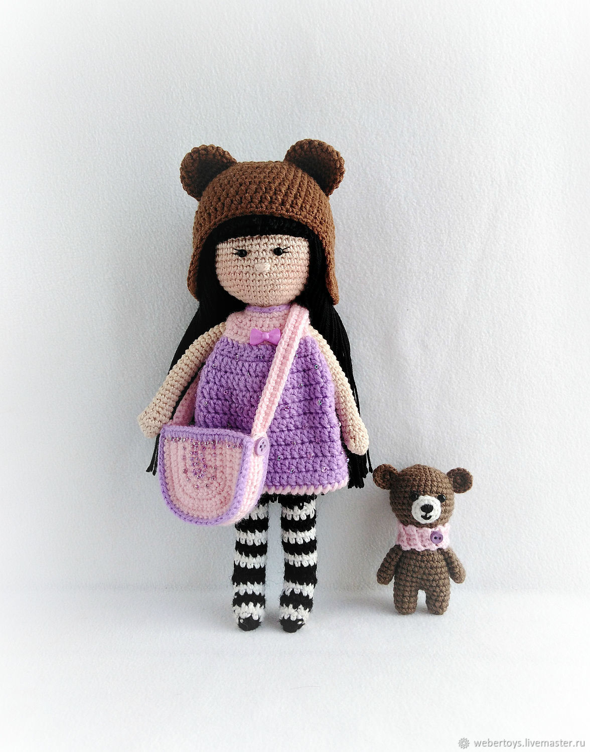 Doll knitted with a bear, Stuffed Toys, Nizhnij Tagil,  Фото №1