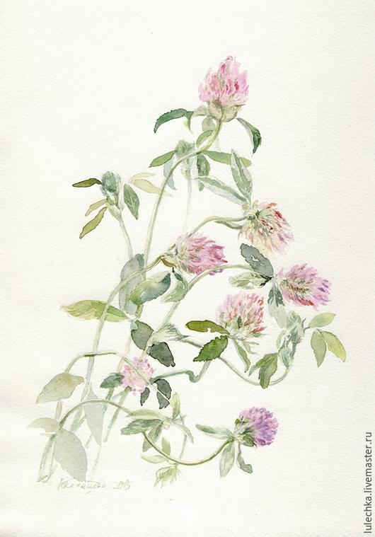 Картины цветов ручной работы. Ярмарка Мастеров - ручная работа. Купить Клевер. Handmade. Розовый, цветы клевера, клевер акварелью