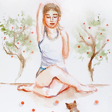 Картины и панно ручной работы. Ярмарка Мастеров - ручная работа Акварели Yoga. Handmade.