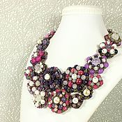 Украшения handmade. Livemaster - original item Necklace: amethysts, pearls, agate, natural stones, Evening Blackberries. Handmade.