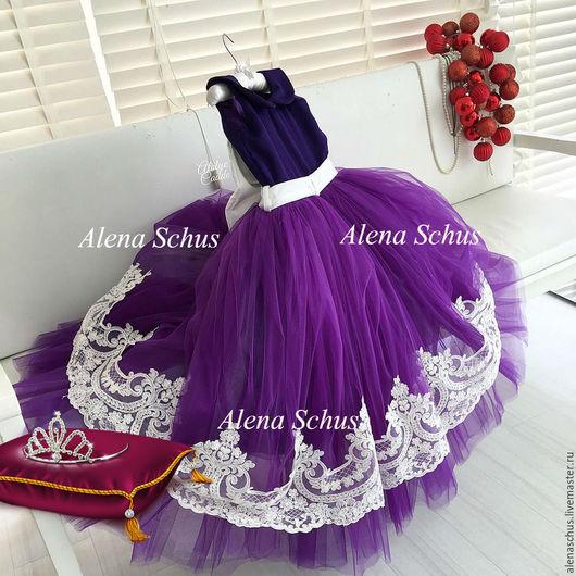 Одежда для девочек, ручной работы. Ярмарка Мастеров - ручная работа. Купить Платье для маленьких принцесс. Handmade. Тёмно-фиолетовый
