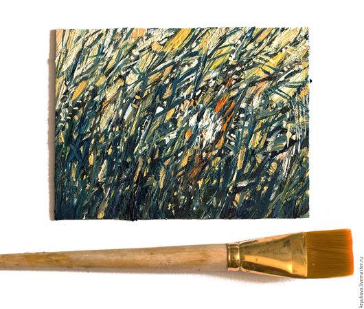 Картина  Вечерний камыш Купить небольшую картину маслом Летний вечер Закатное солнце Картина лето маслом