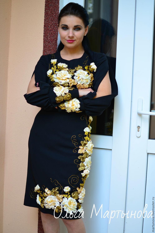 Платья ручной работы. Ярмарка Мастеров - ручная работа. Купить Платье  вышитое лентами Нота Ре ... b8b8f7a346ece
