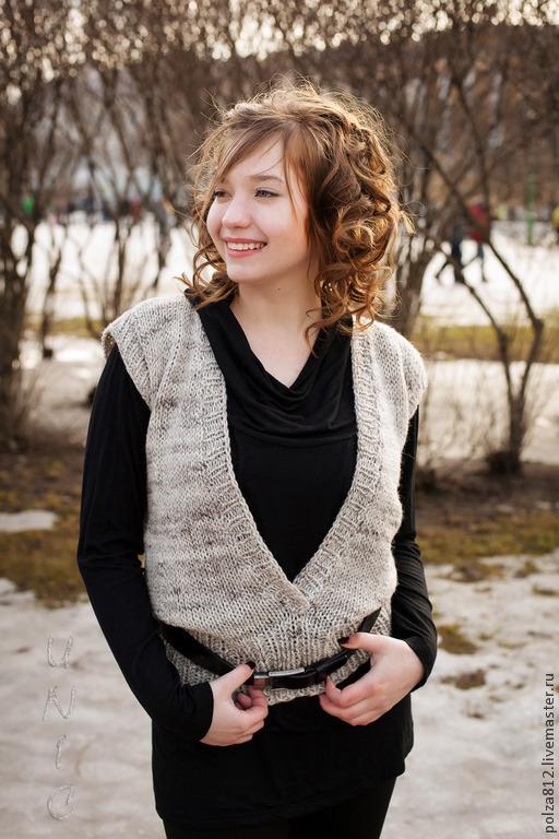 жилетка, жилетка женская, жилетка вязаная, серый, бежевый, меланжевый, стильная жилетка, модный жилет