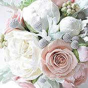 """Букет свадебный,букет невесты из глины """"Piony rose"""""""