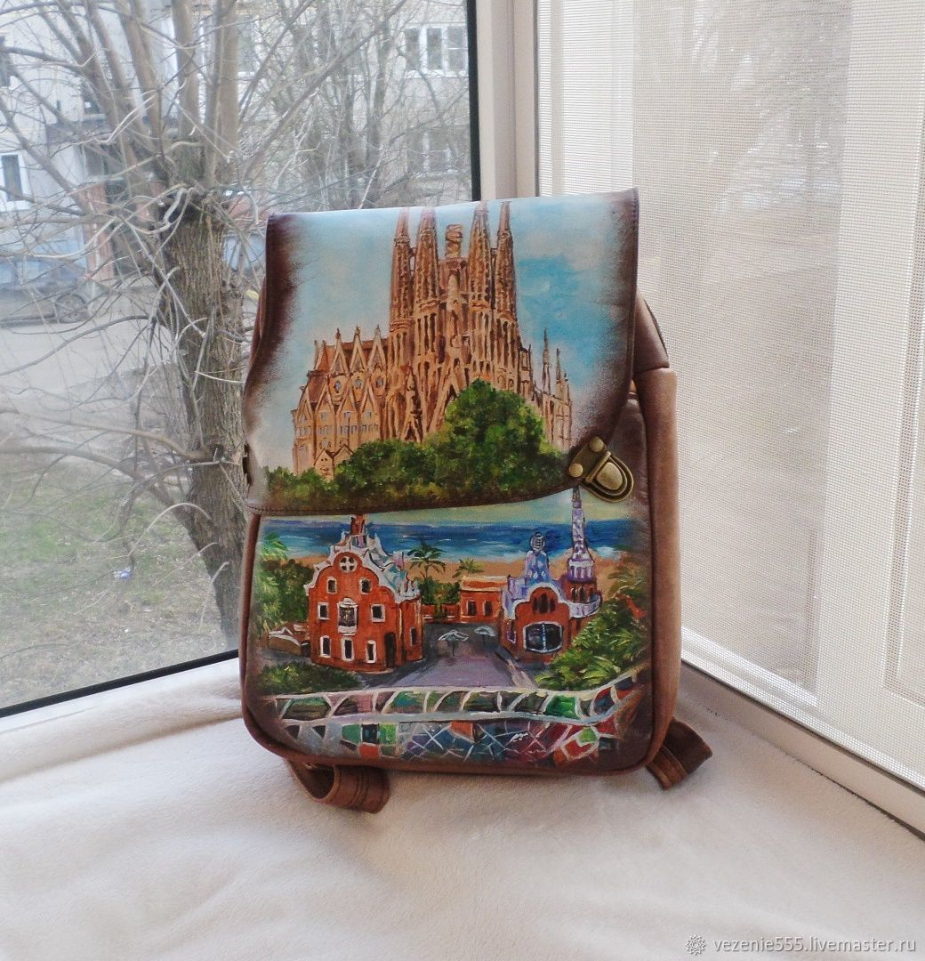 Backpack leather with painting to order for Eugenia, Classic Bag, Noginsk,  Фото №1