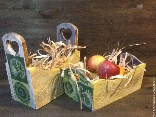Экстерьер и дача ручной работы. Ярмарка Мастеров - ручная работа. Купить Комплект коробов для хранения Зеленые узоры. Handmade. Короб