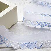 Материалы для творчества handmade. Livemaster - original item Lace sewing white blue, width 2,5 cm. Handmade.
