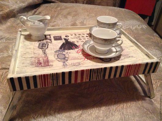 """Кухня ручной работы. Ярмарка Мастеров - ручная работа. Купить Столик-поднос для завтрака """"Музыкальное утро"""". Handmade. Комбинированный, музыка"""