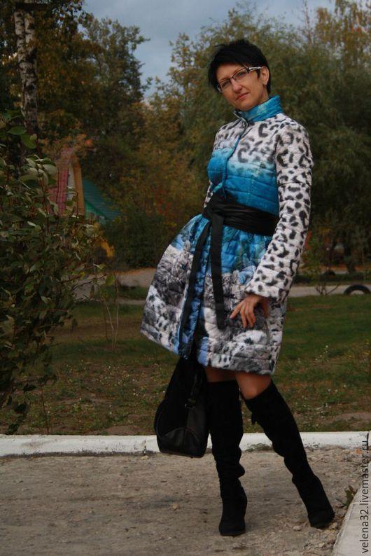 """Верхняя одежда ручной работы. Ярмарка Мастеров - ручная работа. Купить Пальто из курточной ткани """"Кошечка"""". Handmade. Голубой"""