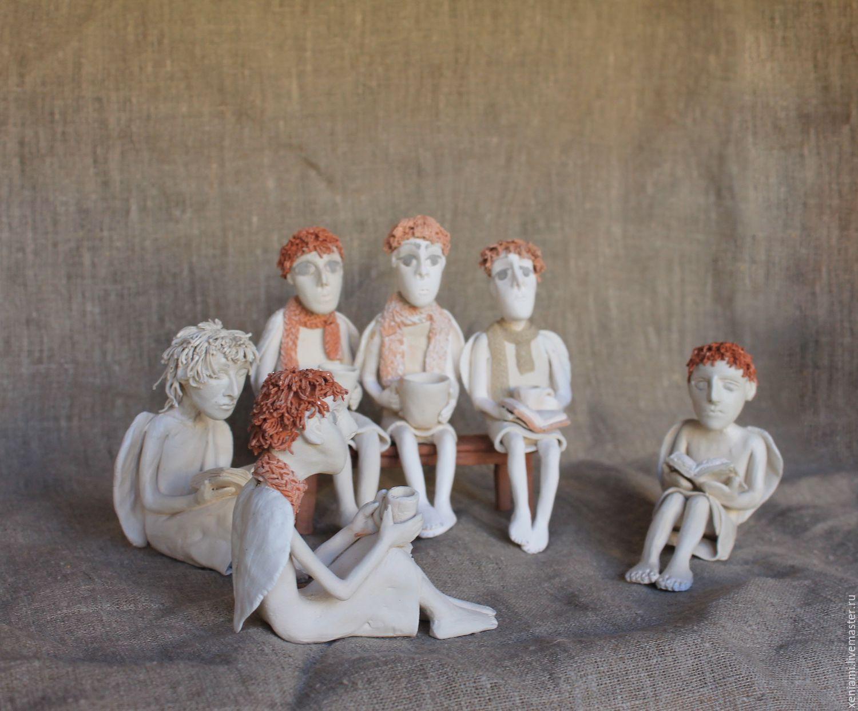 Статуэтки ручной работы. Ярмарка Мастеров - ручная работа. Купить Ангелы на полку. Handmade. Керамика, рождественский ангел, глиняная скульптура