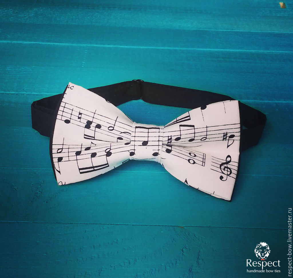 Tie with music notes Musician / black and white butterfly music, Ties, Moscow,  Фото №1