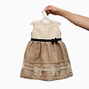 Работы для детей, handmade. Livemaster - original item Beige dress with black velvet bow for the baby. Handmade.