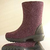 Обувь ручной работы handmade. Livemaster - original item Boots felted Purple Heather grey with leather trim. Handmade.