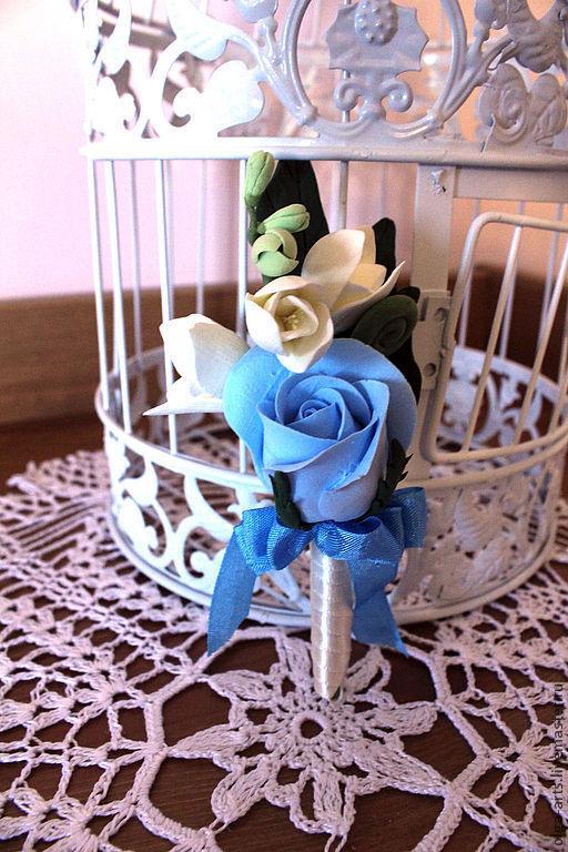 """Одежда и аксессуары ручной работы. Ярмарка Мастеров - ручная работа. Купить Бутоньерка """"Синяя роза"""". Handmade. Бутоньерка, свадьба"""
