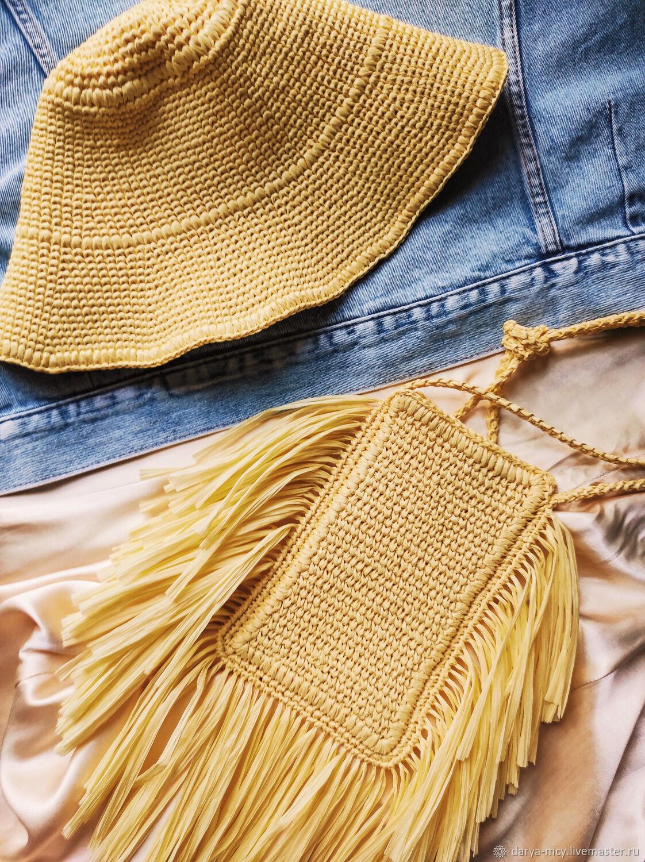 Летние панама и сумка-чехол из натуральной рафии желтого цвета, Сумка через плечо, Москва,  Фото №1