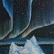 """Картины и панно ручной работы. Ярмарка Мастеров - ручная работа Картина маслом """"Северное сияние №2"""". картина. картина природа. Handmade."""