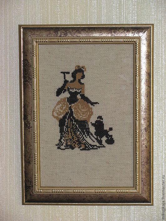 """Люди, ручной работы. Ярмарка Мастеров - ручная работа. Купить Картина """" Дама"""". Handmade. Бежевый, Вышитая картина"""